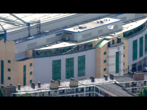 Exterior aerial shots of Chelsea Football Club's Stamford Bridge stadium on a clear sunny day Aerial shots of Stamford Bridge at Stamford Bridge on...