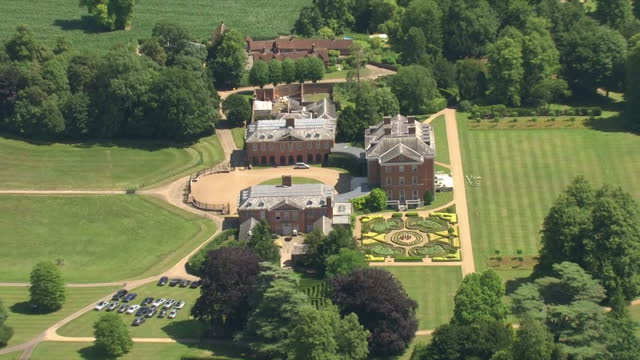 exterior aerial shots of chevening house in kent, a grade 1 listed mansion, and its surrounding grounds on a summer day on 7 july 2017 in sevenoaks,... - national trust video stock e b–roll