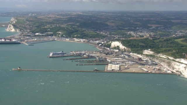exterior aerial shots of dover harbour and coastline on 18th august 2020 in dover, united kingdom - coastline stock videos & royalty-free footage