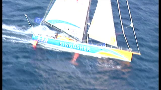 Exterior aerial shots of Ellen Macarthur's Kingfisher yacht sailing at sea competing in the 2001 Vendee Globe round the world race on February 12...
