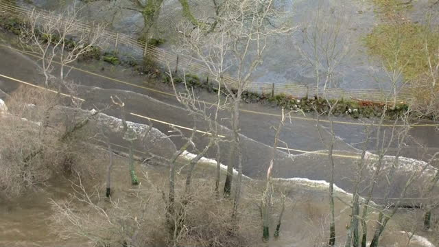 Exterior aerial shots of flooded Cumbrian countryhside at Pooley Bridge on December 08 2015 in Carlisle England