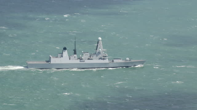Exterior aerial shots of HMS Dauntless at sea off Jersey on July 04 2015 in Saint Helier England