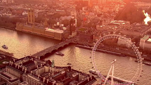 exterior aerial shots of houses of parliament palace of westminster in the late afternoon near sunset on 14th of february 2019 in london england - famous place stock videos & royalty-free footage