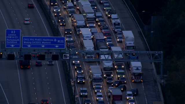 Exterior Aerial shots of huge traffic jam at M25 Motorway at dusk on November 14 2014 in London England