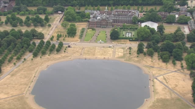 exterior aerial shots of kensington palace and gardens with yellow grass surrounding the area due to the heatwave on 20 july 2018 in london united... - kensington palace video stock e b–roll