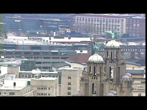 exterior aerial shots of liverpool including the liver building the docks and the river mersey - merseyside stock videos & royalty-free footage