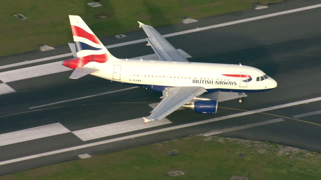 Exterior aerial shots of London City Airport with British Airways planes taxiing on the runway on 13 November 2017 in London United Kingdom