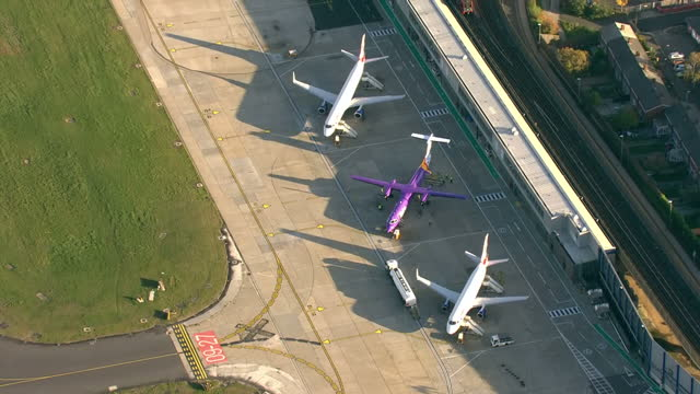 Exterior aerial shots of London City Airport with various passenger planes parked at stands on 13 November 2017 in London United Kingdom