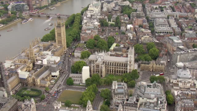 exterior aerial shots of london on the day of people protesting outside houses of parliament against plans to suspend parliament on 28th august 2019... - city of westminster london stock videos & royalty-free footage
