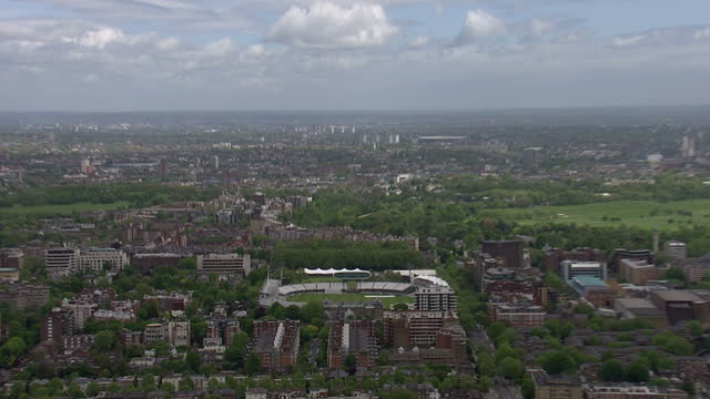 exterior aerial shots of lords cricket ground in st johns wood including the pavillion nursery ground and media centre on a fairly sunny spring day... - lords cricket ground stock videos and b-roll footage