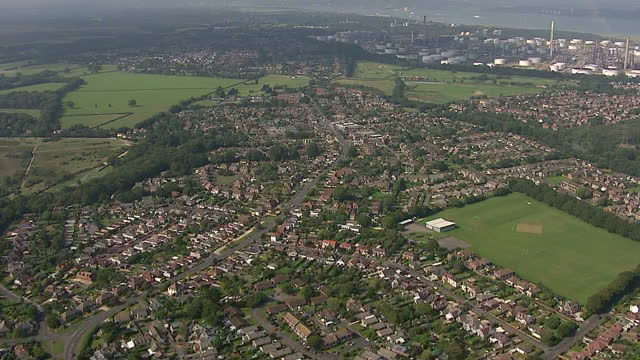 exterior aerial shots of new forest woodland and open fields and the fawley power station and town of dibden on september 04 2014 in beaulieu england - new forest stock videos and b-roll footage