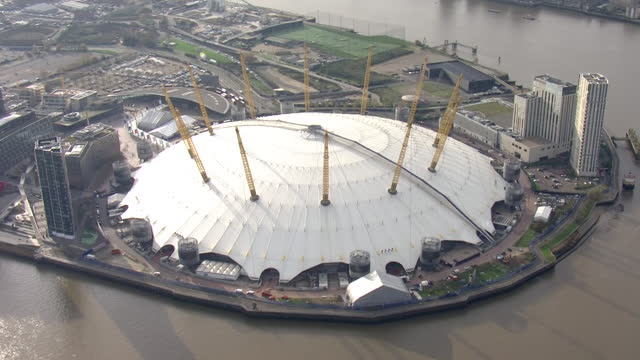 exterior aerial shots of o2 arena music venue on 24 november 2020 in london, united kingdom. - dome stock videos & royalty-free footage