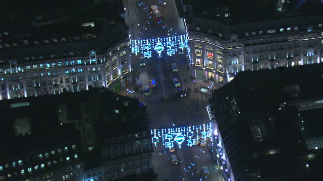 Exterior aerial shots of Oxford Street with a police cordon after false reports of a terrorist incident and colourful Christmas lights on 27 November...