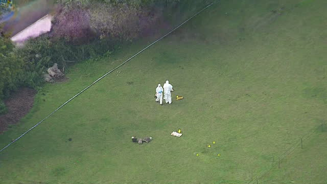 exterior aerial shots of police searching farmland for evidence after the murder of pennie davis in the new forest on september 04 2014 in beaulieu... - hampshire england stock videos and b-roll footage