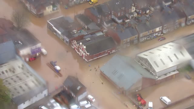 exterior aerial shots of roads and fields around a swollen river ryton on 8 november 2019 in worksop, united kingdom - england stock videos & royalty-free footage