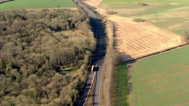 exterior aerial shots of the a303 motorway over countess roundabout leading up to stonehenge on 7 february 2018 in england. - obelisk stock videos & royalty-free footage