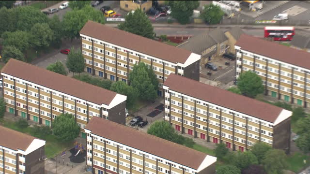 Exterior aerial shots of the Broadwater Farm estate with concrete tower blocks and low rise developments on 20 July 2017 in London United Kingdom
