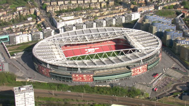 Exterior aerial shots of the Emirates Stadium home to Arsenal FC on the day Arsene Wenger quit as manager on 20 April 2018 in London United Kingdom