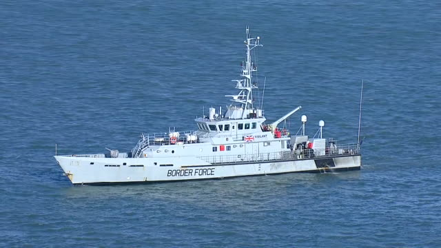 exterior aerial shots of the hm border force ship valiant on patrol in the english channel on 4 january 2019 in dover united kingdom - national border stock videos & royalty-free footage
