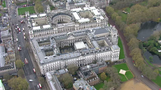 exterior aerial shots of the hm treasury building offices and circular court on 25 november 2015 in london england - scotland stock videos & royalty-free footage