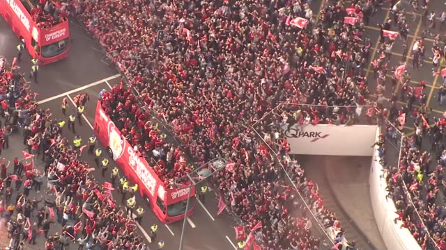 exterior aerial shots of the liverpool 2018/19 champions league victory parade on 2nd june 2019 in liverpool england - liverpool england stock-videos und b-roll-filmmaterial