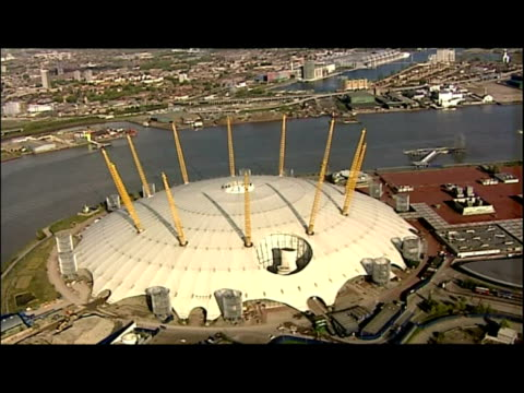 exterior aerial shots of the millennium dome . exterior aerial shots of the cutty sark ship in greenwich. exterior aerial shots of greenwich naval... - the o2 england stock videos & royalty-free footage