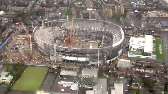 Exterior aerial shots of the Northumberland Development Project the new Tottenham Hotspur football stadium site under construction on 31 January 2018...