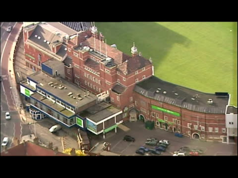 exterior aerial shots of the oval cricket ground. exterior aerial shots of the mi6 building. exterior aerial shots of lambeth palace. exterior aerial... - oval kennington stock videos & royalty-free footage