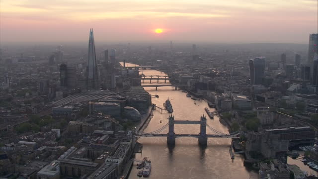 exterior aerial shots of the river thames at sunset on 23 april 2020 in london, united kingdom - aerial view stock videos & royalty-free footage