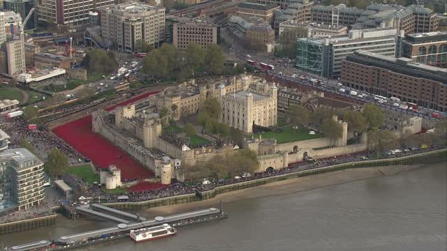 exterior aerial shots of the tower of london with its moat a deep red with a poppy display to commemorate armistice day on november 11 2014 in london... - vallgrav bildbanksvideor och videomaterial från bakom kulisserna