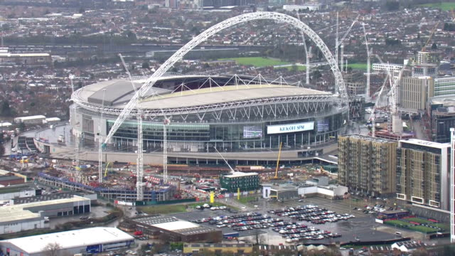 Exterior aerial shots of the Wembley Stadium on 31 January 2018 in London United Kingdom