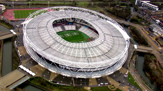 Exterior aerial shots of the West Ham stadium the former London Olympic stadium on a damp rainy day on 31 January 2018 in London United Kingdom