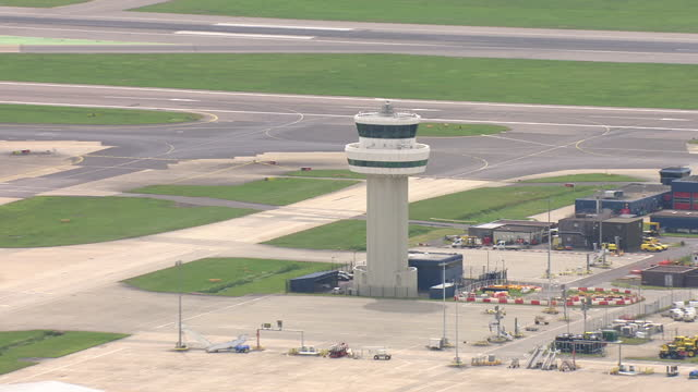 exterior aerial shots of traffic control tower at gatwick airport on 28 may 2018 in england, united kingdom - air traffic control tower stock videos & royalty-free footage
