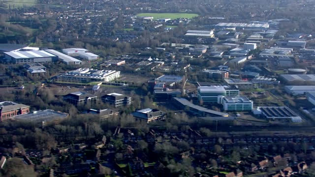 exterior aerial shots of welwyn garden city and its outlying areas on january 02 2017 in welwyn england - welwyn garden city stock videos and b-roll footage