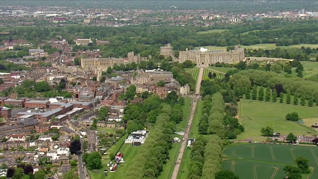 exterior aerial shots of windsor castle ahead of the royal wedding on 18 may 2018 in windsor england - windsor castle stock videos & royalty-free footage