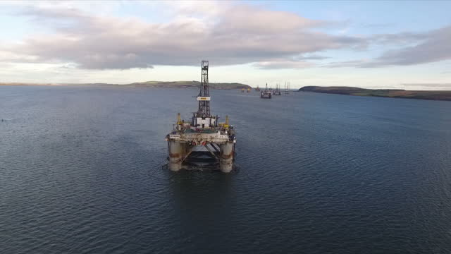 exterior aerial shots oil rigs anchored in the cromarty firth on january 28 2016 in cromarty scotland - oil exploration platform stock videos & royalty-free footage