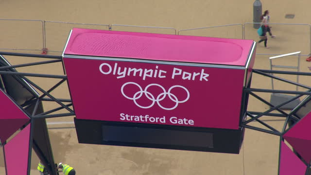exterior aerial shots olympic park stratford gate entrance signs sky news 2012 olympics coverage on july 12 2012 in london england - ロンドン ストラトフォード点の映像素材/bロール