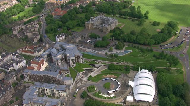 exterior aerial shots our dynamic earth science centre next to holyrood scottish parliament building on february 23 2014 in edinburgh scotland - holyrood bildbanksvideor och videomaterial från bakom kulisserna