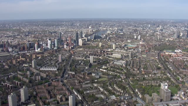 GBR: Aerial views of London amid coronavirus shutdown including St Thomas' Hospital and NHS Nightingale Hospital at the ExCel Centre