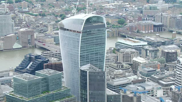 Exterior aerial shots showing the 20 Fenchurch Street skyscraper in the city of London financial district Also known as 'The WalkieTalkie' building...