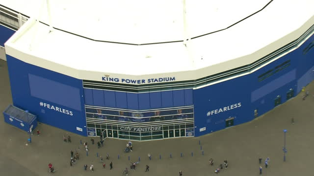 exterior aerial shots the king power stadium home to leicester city football club 2015/16 premier league champions on may 03 2016 in leicester england - leicester stock videos & royalty-free footage