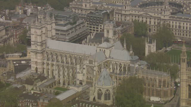 exterior aerial shots westminster abbey on sunny day westminster abbey aerials on april 20 2011 in london england - 50 seconds or greater stock videos & royalty-free footage