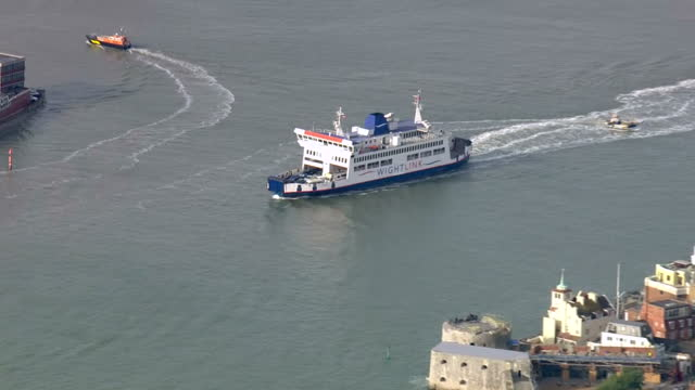 exterior aerial shots wight link car ferry leaving portsmouth harbour for the isle of wight on november 16 2016 in portsmouth england - isle of wight stock videos and b-roll footage