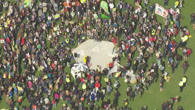 exterior aerial views of climate protesters from campaign group extinction rebellion gathering in parliament square on 15 april 2019 in london,... - climate stock videos & royalty-free footage