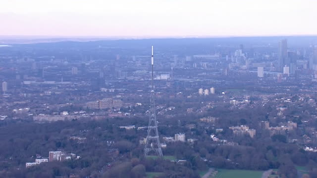 exterior aerial views of crystal palace transmitting station, showing the mast with city of london in the background on 10 january 2020 in london,... - communications tower stock videos & royalty-free footage