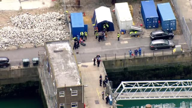 exterior aerial views of dover dockside harbour with police and customs border force processing miigrants in temporary huts on 10 september 2019 in... - sea channel stock videos & royalty-free footage