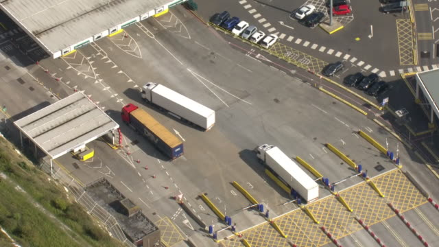exterior aerial views of dover port, including freight lorries driving onto a ferry on 12 september, 2019 in dover, united kingdom - docks stock videos & royalty-free footage