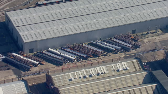 exterior aerial views of litchurch lane works bombardier factory on 25 february 2019 in derby united kingdom - manufacturing stock videos & royalty-free footage