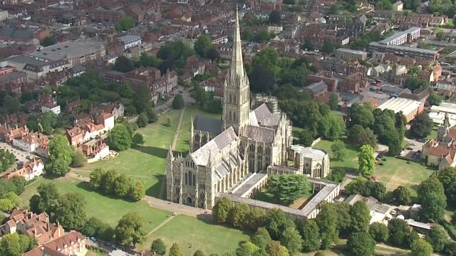 exterior aerial views of salisbury cathedral including zoom in to the spire on 13 september 2018 in salisbury united kingdom - spire stock videos & royalty-free footage