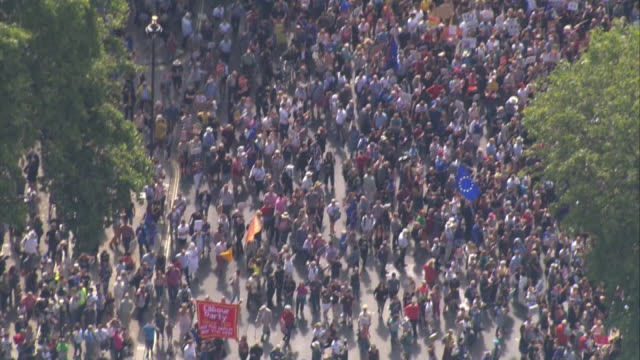 exterior aerial views of stop the coup protest in whitehall and outside downing street on 31 august 2019 in london united kingdom - coup d'état stock videos & royalty-free footage